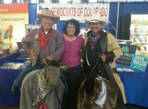 Slim and Curly Meet Peg at the Dems Booth
